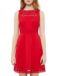 Ted Baker Verony Cutwork Skater Dress Bright Red