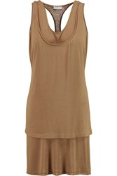 Donna Karan Layered Stretch Jersey Tank Brown
