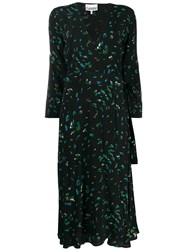 Ganni Bluebell Print Wrap Dress Black