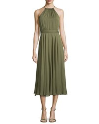 Halston Halter Neck Shirred Midi Dress Willow