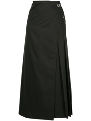 Des Pres Wrap Front Pleated Skirt Black