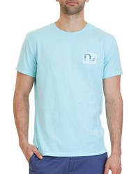 Nautica Sail Boat Collage Graphic Tee Bright Aqua