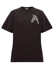 Aries Logo Print Cotton T Shirt Black