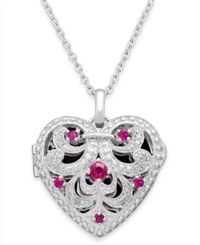Macy's Ruby 1 3 Ct. T.W. And Diamond Accent Heart Pendant Necklace In Sterling Silver