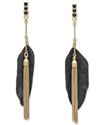 Inc International Concepts Black Feather Front And Back Earrings Only At Macy's