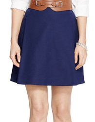 Lauren Ralph Lauren Petite Pleated Cotton Mini Skirt Navy