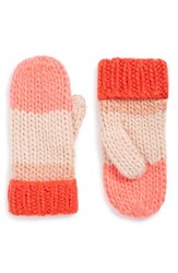 Kate Spade Women's New York Hand Knit Colorblock Mittens Persimmon Grove