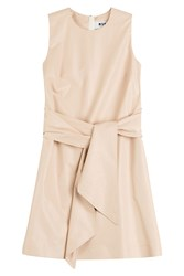 Msgm Cotton Blend Tie Front Dress Beige
