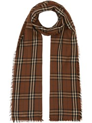 Burberry Vintage Check Lightweight Cashmere Scarf Brown
