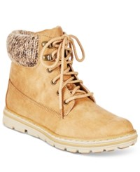 White Mountain Cliffs By Kansas Lace Up Booties Women's Shoes Wheat