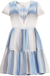 Lemlem Banu Striped Cotton Gauze Dress Light Blue