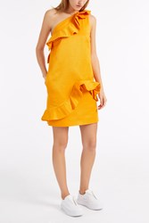 Msgm Ruffle One Shoulder Dress Yellow