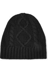 Frame Cable Knit Cashmere Beanie Black