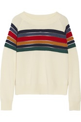Band Of Outsiders Striped Wool Sweater White