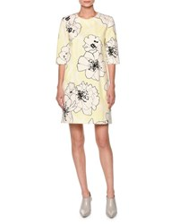Marni Floral Print Half Sleeve Shift Dress Light Yellow