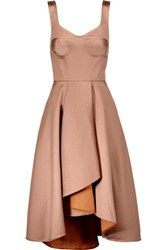 Jason Wu Asymmetric Pleated Satin Midi Dress Neutral