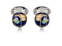 Jan Leslie Men's Spinning Globe Cufflinks Silver