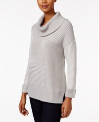 Styleandco. Style Co. Striped Ribbed Cowl Neck Sweater Only At Macy's Bold Grey Ivory