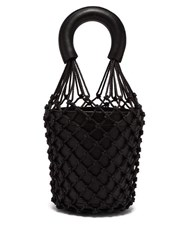 Staud Moreau Macrame And Leather Bucket Bag Black