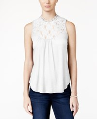American Rag Sleeveless Lace Inset Top Only At Macy's Off White