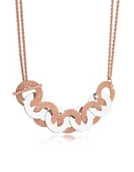 Rebecca R Zero Rose Gold Over Bronze And Steel Maxi Chain Necklace Pink