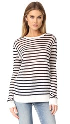 Alexander Wang T By Long Sleeve Crew Neck Tee Ink And Ivory