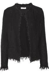 Iro Shavani Fringed Cotton Blend Boucle Jacket Black