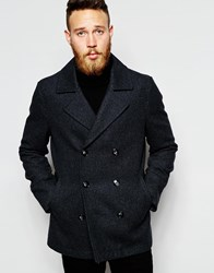 Asos Wool Peacoat In Grey