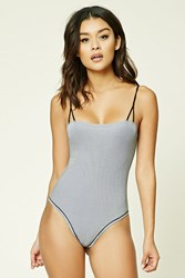 Forever 21 Striped Thong Bodysuit Black White