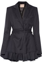 Maggie Marilyn Give Me Strength Ruffle Trimmed Pinstriped Wool Blazer Navy
