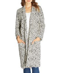 Bobeau Geometric Print Textured Duster Jacket Gray