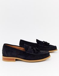 Office Invasion Tassel Loafers In Navy Suede