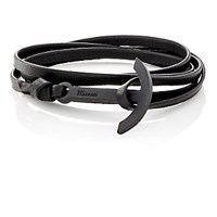 Miansai Men's Modern Anchor On Leather Wrap Bracelet Black Blue Black Blue