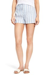 Cupcakes And Cashmere Women's Brinley Stripe Shorts Bleached Blue