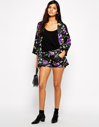Max C London Max C Tailored Shorts In Mono Floral Print Black