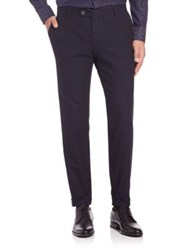 Sand Slim Fit Wool Pants Navy