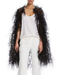 Monique Lhuillier Feather Embellished Tulle Cape Noir