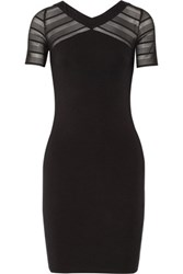 Bailey 44 Whatever Crochet Trimmed Stretch Jersey Dress Black