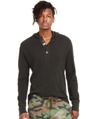 Denim And Supply Ralph Lauren Waffle Knit Hooded Henley Faded Black Canvas