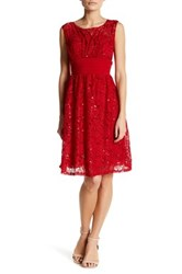 Sangria Sequined Lace Dress Petite Red