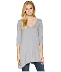 Allen Allen 3 4 Sleeve V Angled Tunic Pale Grey Short Sleeve Pullover Gray