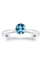 Sterling Silver Blue Topaz Round Solitaire Ring No Color