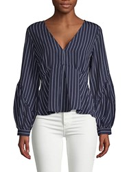 19 Cooper Pinstriped Puffed Sleeve Top Navy Stripe