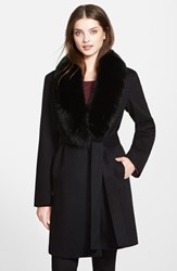 Women's Fleurette Wool Wrap Coat With Genuine Fox Fur Collar