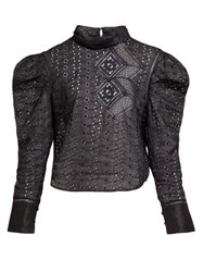 Isabel Marant Qyandi Puffed Sleeve Broderie Anglaise Blouse Black
