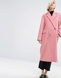Asos White Wool Mix Overcoat With Pearl Fastening Pink