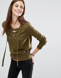 Abercrombie And Fitch Lace Up V Neck Jumper Olive Green