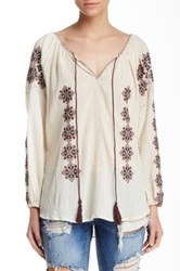 Angie Embroidered Tassel Blouse White