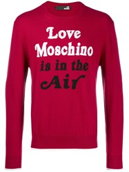 Love Moschino Quote Print Sweater Red