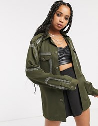 Milk It Vintage Oversized Military Jacket With Diamante Embellishment Green